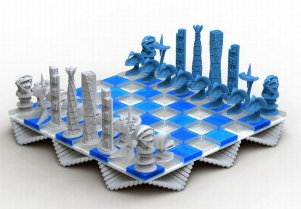 Calatrava #Chess Set by Thomas Perrone, replaces pieces with architecture works from architect Santiago Calatrava