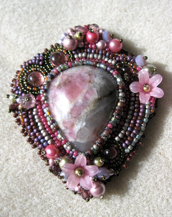 Victorian Bead Embroidered Brooch