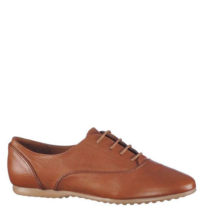 Pantofi cu talpa subtire, pentru femei, marca Bonneville, culoare maro. Sunt din piele naturala atat in exterior cat si in interior. Inchiderea se face cu siret subtire cerat.