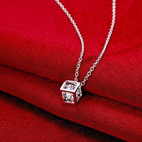 Pendant Necklace 925 Sterling Silver Crystal Square 18in Chain | Jewelry & Watches, Fashion Jewelry, Necklaces & Pendants | eBay!