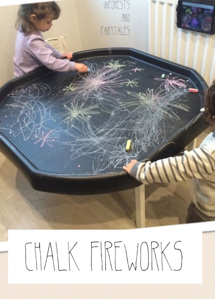 Tuff tray + chalks + stimulus #EYFS #fireworks #activity