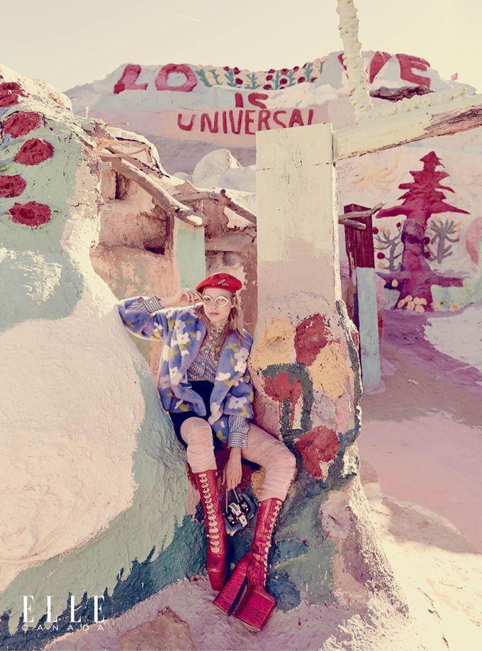 """Лаура Шелленберг (Laura Schellenberg) позировала Максу Абадяну (Max Abadian) в Палм-Спрингс, Калифорния для октябрьского выпуска канадского ELLE. Фотосессиия получила имя """"Candy Land""""."""