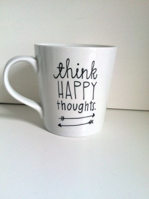 Think Happy Thoughts Hand Painted Coffee Mug, 16 ounces, Ceramic Coffee Mug, Great Gift Idea on Etsy, $15.00