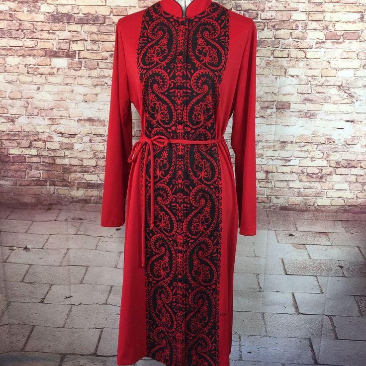 VTG Alfred Shaheen Womens Dress Size 18 LS Red Button Up Shirt Dress Hawaii L14    eBay