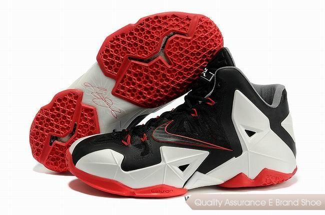 Nike LeBron 11 Miami Heat Black White Red Basketball Shoes. Hot Sold Cheap  lebron 11