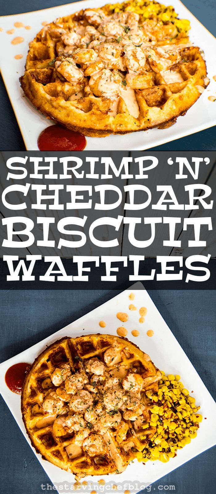 The Starving Chef | Shrimp 'n' Waffles - Old Bay Cheddar Biscuit mix is transformed into delicious waffles.