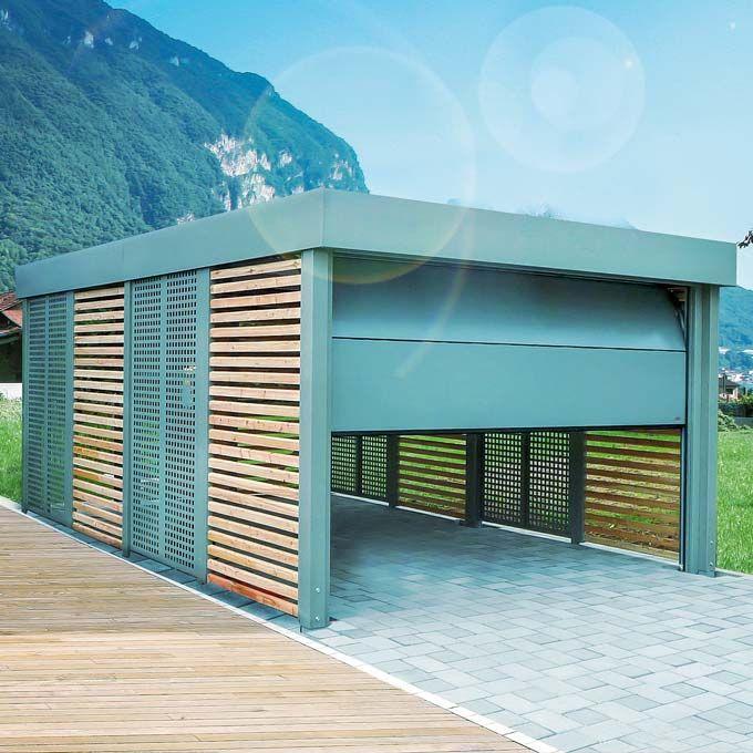 Siebau carport with garage door