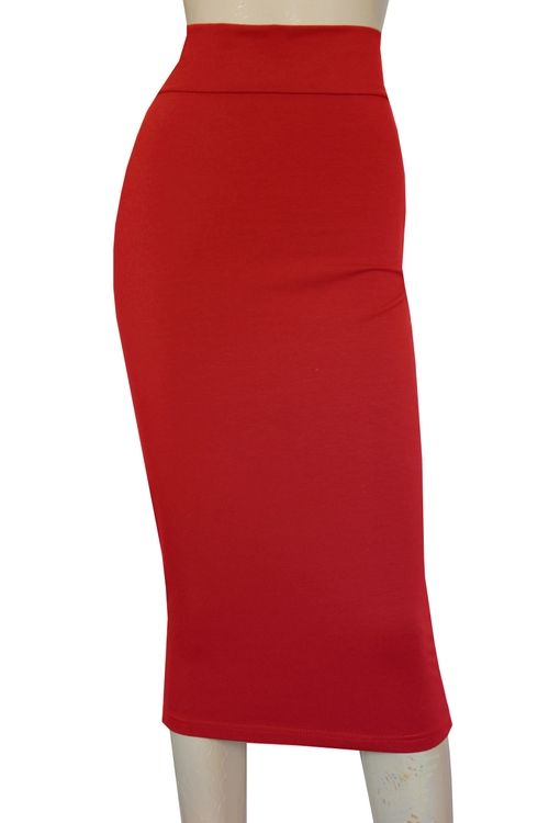 1e99069b4a7 Red tube skirt. Sexy pencil skirt. High waist casual bottoms. Plus size  fitted outfit.