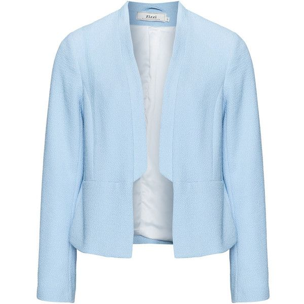 Zizzi Blue Plus Size Jacquard cropped blazer (£66) ❤ liked on Polyvore featuring outerwear, jackets, blazers, blue, plus size, plus size blazers, plus size lightweight jacket, cropped blazer, lightweight jackets and open front blazer