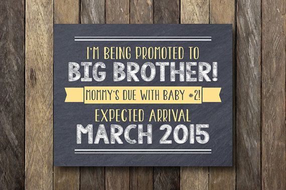 Big Brother Announcement Sign - Pregnancy Announcement Printable - Promoted to Big Brother - Baby Number Two Announcement - Pregnancy Reveal