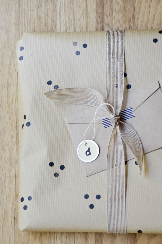 Hand-stamped wrapping paper.