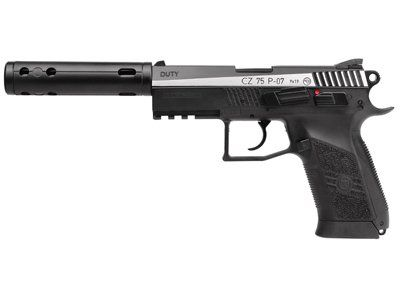ASG CZ 75 P-07 Duty Dual-Tone CO2 BB Pistol Kit air pistol - http://www.airrifleforsale.com/air-pistols/asg-cz-75-p-07-duty-dual-tone-co2-bb-pistol-kit-air-pistol/ - ASG CZ 75 P-07 Duty pistol Uses a 12-gram CO2 cartridge 20-rd removable BB mag Metal slide moves and delivers realistic blowback action Looks like the 9×19 firearm Fixed sights Manual safety Weaver accessory rail Threaded muzzle Includes the gun and an ASG fake compensator … Includes P-07 2-tone gun an