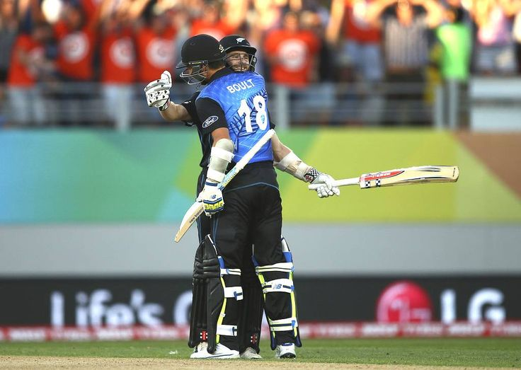 AUCKLAND, NEW ZEALAND - FEBRUARY 28:  Kane Williamson and Trent Boult of New Zealand celebrate after hitting the winning runs during the 2015 ICC Cricket World Cup match between Australia and New Zealand at Eden Park on February 28, 2015 in Auckland, New Zealand.