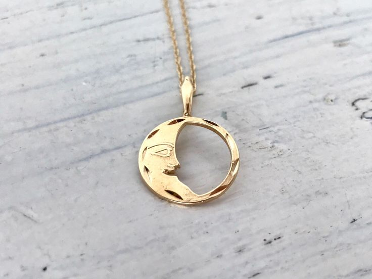 Vintage Crescent Moon Necklace Pendant | Tiny Circle Charm Necklace | Dainty 14k Yellow Gold Necklace | Celestial Jewelry | Mothers Day Gift by FergusonsFineJewelry on Etsy https://www.etsy.com/listing/278347766/vintage-crescent-moon-necklace-pendant