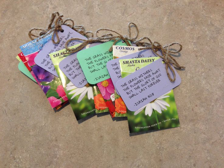 Seeds with bible verse tags. Spring gift ideas