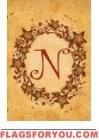 N - Vine / Berries Monogram Garden Flag