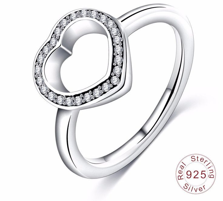 925 Sterling Silver Heart Shape with Clear CZ Original Luxury Jewelry – Hand Pick Style
