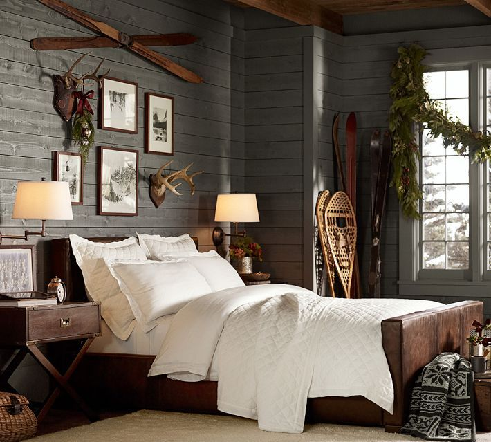 cozy rustic room with turner leather bed