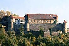 Stettenfels Castle is a medieval castle above the town of Untergruppenbach in Heilbronn. It was once owned by Hans Fugger and is now used for cultural events.