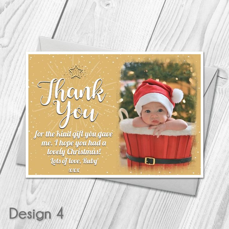 Personalised Christmas Thank You Cards | Photo Thank You Cards & Envelopes |   Custom Made With Your Own Wording |   All orders include FREE UK 1st Class Royal Mail delivery