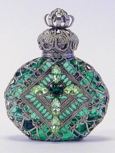 Vintage Handmade Czech Perfume Bottle w/Topper