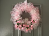 tulle rag style wreath with floral embellishments