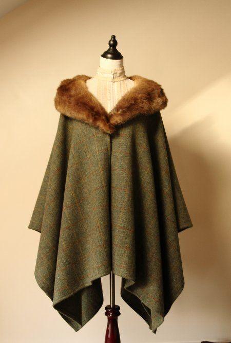 Harris Tweed & Vintage Fur Cape