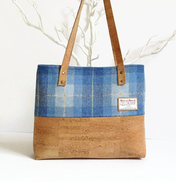 Eco Friendly Cork Bag - Harris Tweed Bag - Scottish Blue Tartan Bag   Unique and beautiful combination of the famous and exclusive Harris Tweed wool from Scotland and the rustic look and silky touch of genuine cork from Portugal! This bag is sturdy and durable, as well as eco friendly, and will be your perfect everyday accessory.   It is lined with a matching blue cotton fabric and fully interfaced and interlined to give it structure and durability. There is one double pocket inside for your…