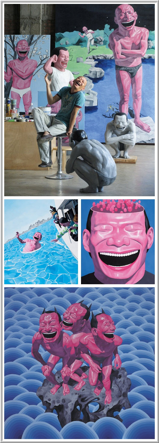 Yue Minjun — contemporary Chinese artist.  Movement: Cynical Realism. { i see immediately humorous and sympathetic in his artworks } btw the artworks illustrate mostly his laughing face. :D