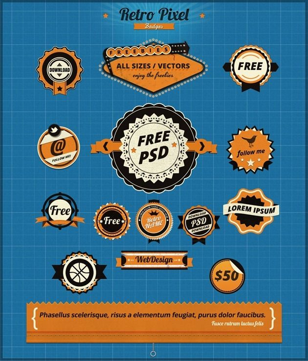 Freebie: RetroPixel GUI set, 1000  retro and vintage elements « Design Shock