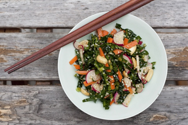Asian Kaleslaw. Nice variant on those massaged raw kale salads with ...