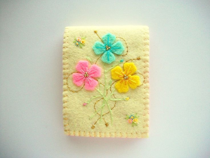 Needle Book Pastel Yellow Felt Cover with by HandcraftedorVintage