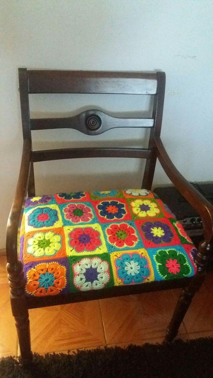 Flores Crochet tapiz para sitial
