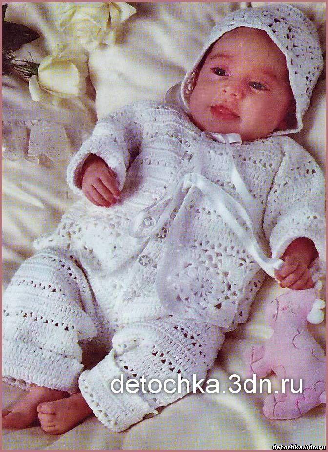 Схема вязания цельнокройного платья для новорожденных