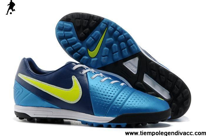2013 New Nike CTR360 Libretto III TF Turf Soccer Shoes Black White Blue Soccer Boots For Sale