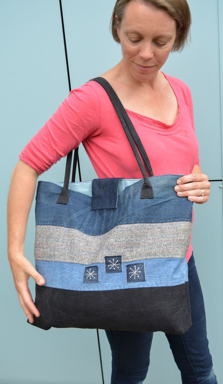 Upcycled Tote Bag Pattern Step by step instructions to create stylish large tote. Visit the blog for full tutorial