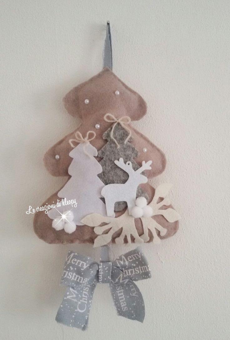 Alberello natalizio in pannolenci colori shabby - le creazioni di kleopy