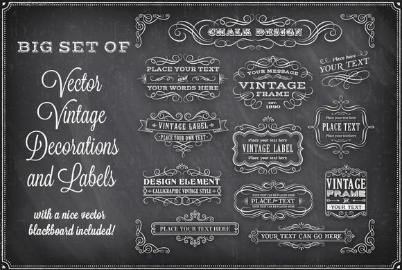 Vector Chalkboard Decorations by FourLeafLover on Creative Market