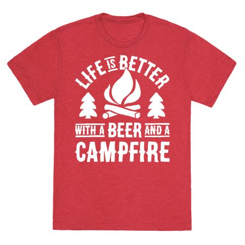 This cute camping shirt features a crackling campfire amongst the pines and is perfect for people who love camping, campfires, drinking beer, hanging out in the woods, sleeping in tents, hiking and enjoying nature.