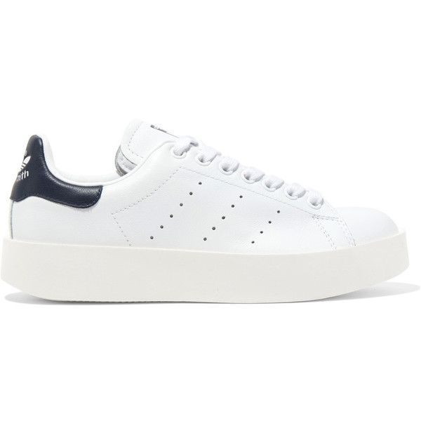adidas Originals Stan Smith Bold leather sneakers (£56) ❤ liked on Polyvore featuring shoes, sneakers, sapatos, white shoes, white lace up sneakers, tennis sneakers, tennis shoes and tennis trainer