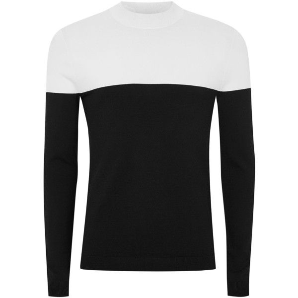 TOPMAN Black And White Turtle Neck Jumper (750 MXN) ❤ liked on Polyvore featuring men's fashion, men's clothing, men's sweaters, black, mens slim fit sweaters, mens black and white striped sweater and mens turtleneck sweater