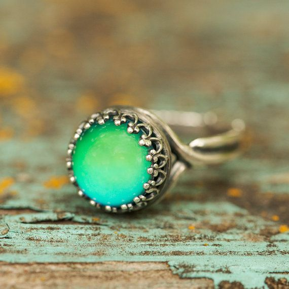 Vintage Silver Mood Ring, Color Changing Mood Ring, Real Mood Ring, Mood Jewelry, Boho Style Ring, Ornate Mood Ring, Handmade in America