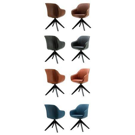 Deze stoel Jules is in vier mooie kleuren verkrijgbaar: antraciet, bruin, cognac en blauw. De kuipstoel heeft een lederlook. Extra handig! De stoel met metalen kruispoot is draaibaar. Kom deze stoere stoel bekijken bij van de Pol Meubelen!