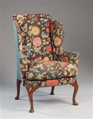 Captivating Tapestry Queen Anne Walnut Wing Chair.... From 18th Century.