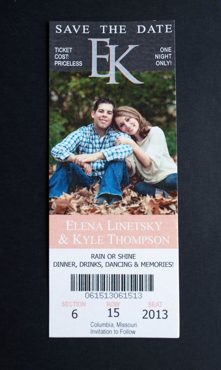 For all the rock shows we go to this is a great way to send out! Really giving this some thinking no matter what theme wedding we go with. Save the Date Photo Sports Ticket Monogram by ericksondesign, $1.50