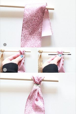 Ribbon-Tied Backdrop: This method uses wrapped wire ties, which is faster than knotting and helps to make the ribbon drape more neatly.