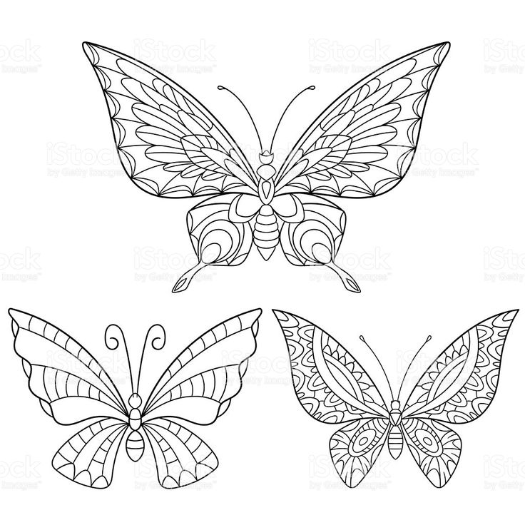 Stylized collection of three butterflies royalty-free stock vector art