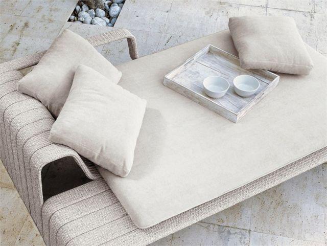 Gartenmöbel Für Zwei Personen FRAME Daybed Ablagefläche Kopfkissen Polster  Beige