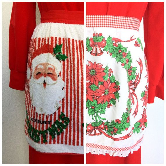 Christmas Aprons, Lot of 2, Vintage Aprons, Novelty Aprons, Red White Green Santa Snowman Poinsettia