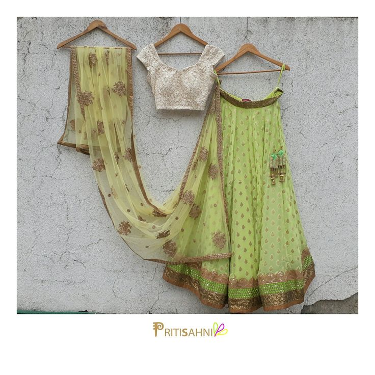 Summer wedding look.Look cool and classy in this fresh green and yellow lehenga set for your best friend s pre-wedding festivities For more information write to info@pritisahni.com  16 June 2017